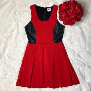 Parker Red Black Lambskin Leather Detail Dress